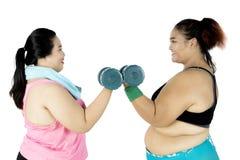 Donne di peso eccessivo che si esercitano con la testa di legno Fotografia Stock Libera da Diritti