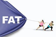 Donne di peso eccessivo che tirano testo grasso Fotografia Stock Libera da Diritti