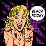 Donne di piacere del cliente di Black Friday Fotografie Stock