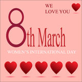 Donne di saluto l'8 marzo illustrazione vettoriale