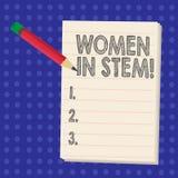 Donne di scrittura del testo della scrittura in gambo Scienziato Research di matematica di ingegneria di tecnologia di scienza di illustrazione vettoriale