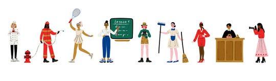 Donne di varie professioni insieme, confettiere, vigile del fuoco, tennis, insegnante, scienziato, domestica, hostess, giudice royalty illustrazione gratis