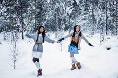 Donne divertenti che imbrogliano intorno sul fondo bianco di inverno della neve Fotografie Stock Libere da Diritti