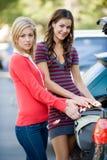 Donne e sacchetto Fotografia Stock