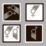 Donne e segno dell'uomo Fotografia Stock