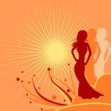 Donne e sole Fotografia Stock