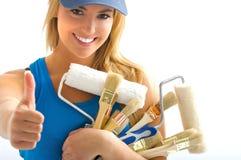 Donne e strumenti graziosi Fotografia Stock Libera da Diritti