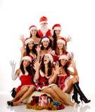 Donne ed il Babbo Natale di grido Immagini Stock Libere da Diritti
