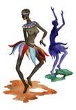 Donne etniche dell'Africano di ballo Immagine Stock