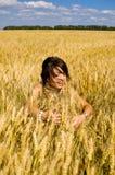 donne felici del frumento Fotografie Stock Libere da Diritti