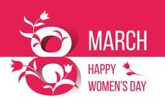 Donne felici giorno carta di vettore dell'8 marzo Immagine Stock Libera da Diritti