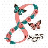 Donne felici internazionali del manifesto giorno cartolina d'auguri floreale dell'8 marzo Fotografie Stock Libere da Diritti