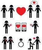 Donne gay che si innamorano ed icone di impegno messe Fotografia Stock Libera da Diritti