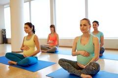 Donne incinte felici che si esercitano all'yoga della palestra fotografie stock libere da diritti
