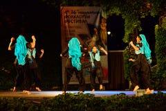 Donne indiane che ballano nella fase del teatro di estate Fotografia Stock Libera da Diritti