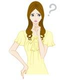 Donne lunghe dei capelli, punto interrogativo illustrazione di stock
