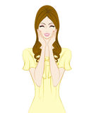 Donne lunghe dei capelli, sorridenti royalty illustrazione gratis