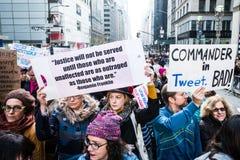 Donne marzo 2017 NYC Fotografie Stock Libere da Diritti