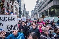 Donne marzo 2017 NYC Immagini Stock Libere da Diritti