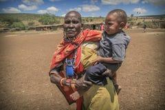 Donne masaie con il bambino Fotografia Stock
