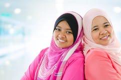 Donne musulmane felici Fotografia Stock Libera da Diritti