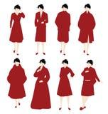Donne nel colore rosso Fotografia Stock