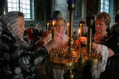 Donne nella chiesa ortodossa Immagine Stock Libera da Diritti