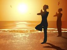 Donne nella posa di yoga illustrazione di stock