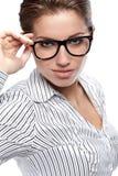 Donne o allievo sui precedenti di affari Immagine Stock