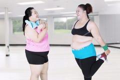 Donne obese che fanno allungamento insieme Immagine Stock