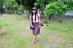 Donne in parco pubblico in Nonthaburi Tailandia Fotografia Stock Libera da Diritti
