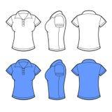 Donne Polo Shirt Template Parte anteriore, parte posteriore e lato Fotografia Stock