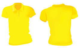 Donne Polo Shirts Template giallo Immagine Stock