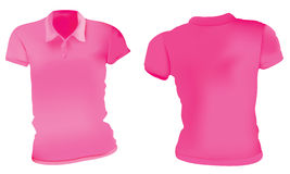 Donne Polo Shirts Template rosa illustrazione di stock
