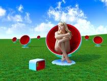Donne in poltrona Immagine Stock