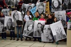 Donne ` s marzo 2017: Pro manifesti delle donne Fotografia Stock Libera da Diritti