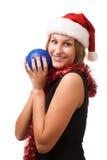 Donne sorridenti in cappello della Santa Fotografie Stock Libere da Diritti