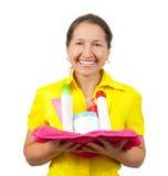 donne sorridenti degli articoli da toeletta Fotografie Stock Libere da Diritti