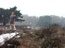 Donne sulla passerella di inverno Fotografia Stock