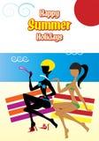 Donne sulla spiaggia durante le vacanze estive Fotografia Stock