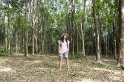 Donne tailandesi ritratto e viaggio nel pla dell'albero di gomma o di seringueira Immagine Stock