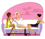Donne in un drawing-room Immagine Stock