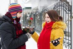 Donne une rose en hiver Photo libre de droits