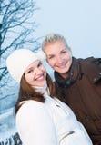 Donne in vestiti di inverno all'aperto Fotografia Stock Libera da Diritti