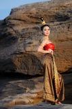 Donne in vestito tailandese Fotografia Stock Libera da Diritti
