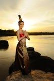 Donne in vestito tailandese Fotografie Stock