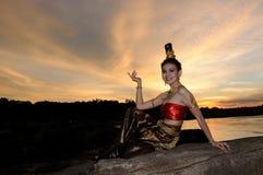 Donne in vestito tailandese Fotografie Stock Libere da Diritti