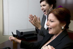 Donne vittoriose di affari! Fotografie Stock