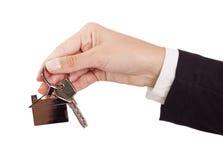 Donner des clés de maison Photo stock