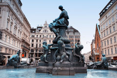 The Donner Fountain (Donnerbrunnen) in Neuer Markt in Vienna, Au. Stria Stock Image